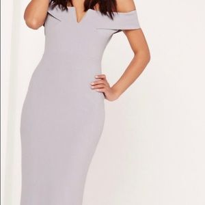 Maxi lilac/grey missguided Bardot New dress
